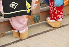Geisha's shoes stock photos