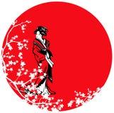 Geisha among sakura blossom against red sun Royalty Free Stock Images