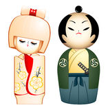 Geisha and Samurai Royalty Free Stock Photo