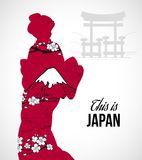 Geisha Silhouette Illustration Stock Images