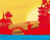 Geisha silhouette at sunset vector illustration