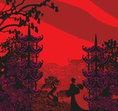 Geisha silhouette at sunset. Vector Illustration Stock Photography