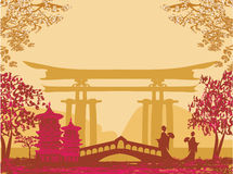 Geisha silhouette at sunset Royalty Free Stock Photography