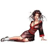 Geisha sitting. Isolated over white Stock Illustration
