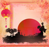 Geisha at sunset. Raster illustration Stock Photography