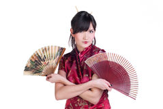 Geisha with two fans Royalty Free Stock Photo