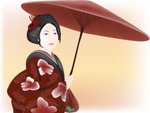 Geisha with umbrella Royalty Free Stock Image