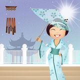 Geisha with umbrella Royalty Free Stock Images