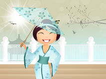Geisha with umbrella Stock Photography