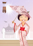Geisha with umbrella Stock Photo