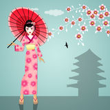 Geisha with umbrella Royalty Free Stock Photo