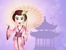Geisha with umbrella Royalty Free Stock Photography