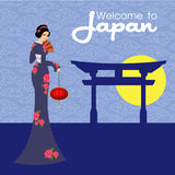 The Geisha vector design.illustration and background royalty free stock image