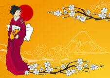 Geisha Vector Illustration. Geisha on traditional japanese background with sakura flowers and mountain silhouette  illustration