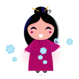 Geisha woman in pink kimono Stock Image