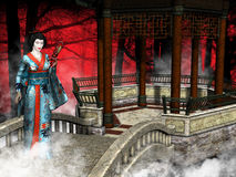 Geisha Woman, Red Forest Illustration. Illustration of a Japanese geisha woman in a garden pavilion. The background is a red forest. The girl is wearing a Stock Image