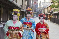 Geisha women in Kyoto, Japan Royalty Free Stock Photos