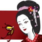 Geisha y mariposa Imagenes de archivo