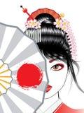 Geishaen med fläktar Royaltyfria Bilder