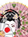 Geishaen med fläktar Arkivfoto