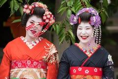 Geishaflickor i Japan Arkivbilder