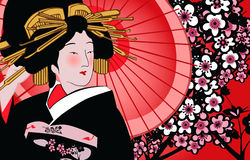geishajapan vektor illustrationer