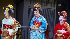 Geishakvinnor i Kyoto, Japan Arkivbild