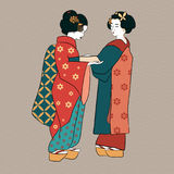 Geishas Japan classical Japanese women ancient style of drawing Royalty Free Stock Photos