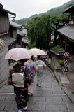 Geishas walking with umbrella in the rain