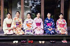 Geishas in Yoshikien Garden in Nara royalty free stock photo