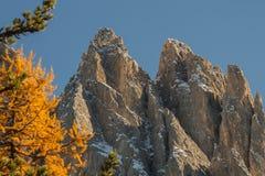 Geisler grupy szczyty w dolomitach Fotografia Stock