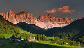 Geisler Sunset. Mountain range in the Dolomites, a part of the Alps in Northern Italy royalty free stock images