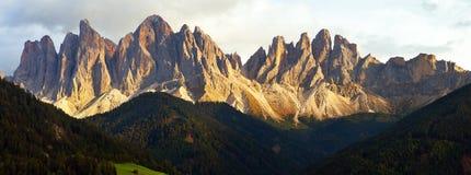 Geislergruppe or Gruppo dele Odle. Evening panoramic view of Geislergruppe or Gruppo dele Odle, Italian Dolomites Alps mountains Stock Photos