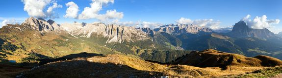 Geislergruppe or Gruppo delle Odle and Sella gruppe Royalty Free Stock Photo