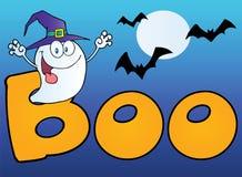 Geist, der einen Hexehut im Wort Boo trägt Lizenzfreies Stockfoto