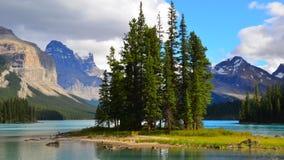 Geist-Insel, Maligne See, Rocky Mountains, Kanada Stockfoto