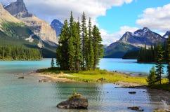 Geist-Insel, Maligne See, Rocky Mountains, Kanada Lizenzfreie Stockfotos