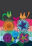 Geist-Katze-Blume glückliches Halloween_eps lizenzfreies stockbild