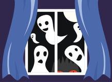Geister außerhalb des Fensters Stockfoto