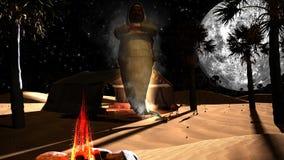 Geister 3D in einer arabischen Wüste mit Palmen Stockbild