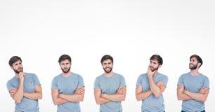 Geisterbild des Mannes mit verschiedenen Ausdrücken Stockfotografie