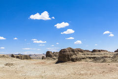 Geisterstadt der Welt bei Xinjiang Stockbilder