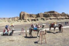 Geisterstadt der Welt bei Xinjiang Stockfotografie