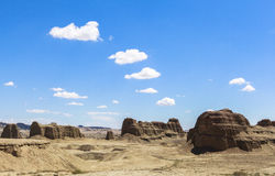 Geisterstadt der Welt bei Xinjiang Stockfotos