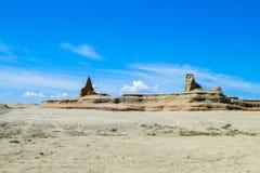 Geisterstadt der Welt bei Xinjiang Stockbild