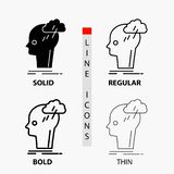 Geistesblitz, kreativ, Kopf, Idee, denkende Ikone in der dünnen, regelmäßigen, mutigen Linie und in der Glyph-Art Auch im corel a stock abbildung