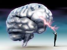 Geistesblitzbegriffsbild mit menschlichem Gehirn Lizenzfreies Stockfoto