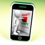 Geisteskrankheits-Vernunfts-Schalter zeigt Sane Or Insane Psychology Stockbild