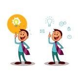 geistesstörung Büroangestellter mit der Idee einer Glühlampe Ein einer Reihe ähnlicher Bilder Stockbilder