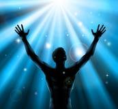 Geistiger Mann mit den Armen warf oben Konzept auf Stockbild